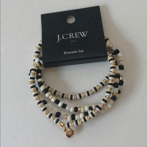 J. Crew Black Gold & White Stretch Bracelets (4)